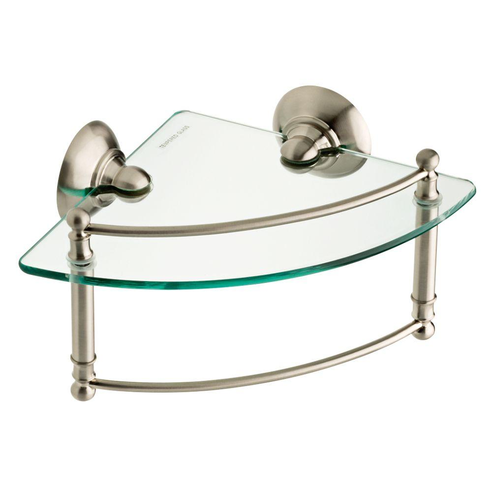 bathroom shelf with towel bar brushed nickel w glass corner shelf with hand towel bar in brushed nickel RNLYZEI