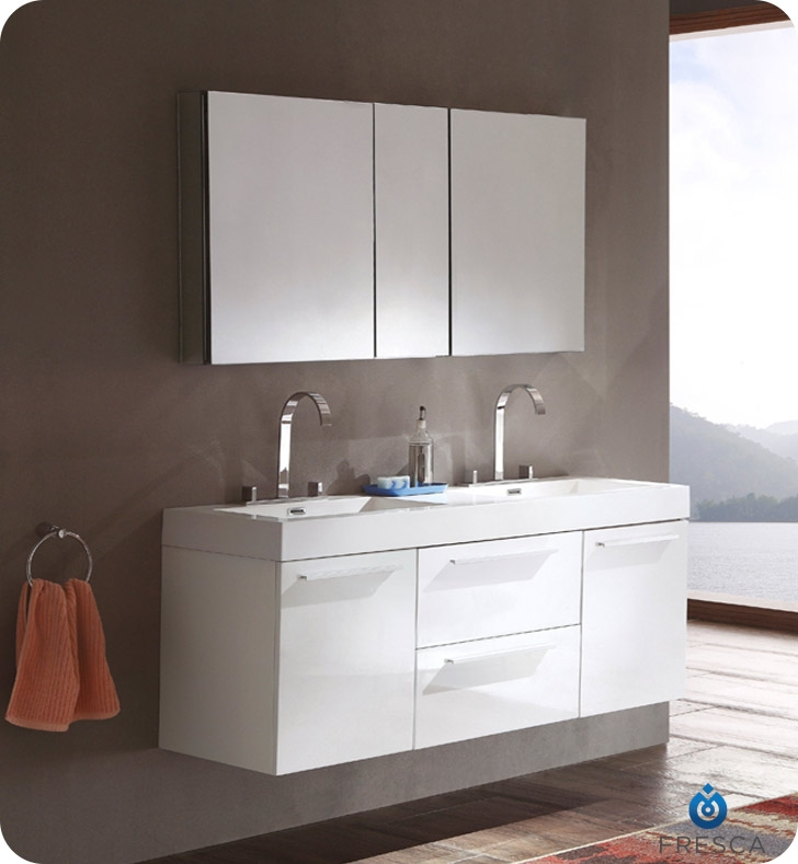 bathroom vanities with matching medicine cabinets fresca opulento white modern double sink bathroom vanity w/ medicine cabinet SCLEIDY