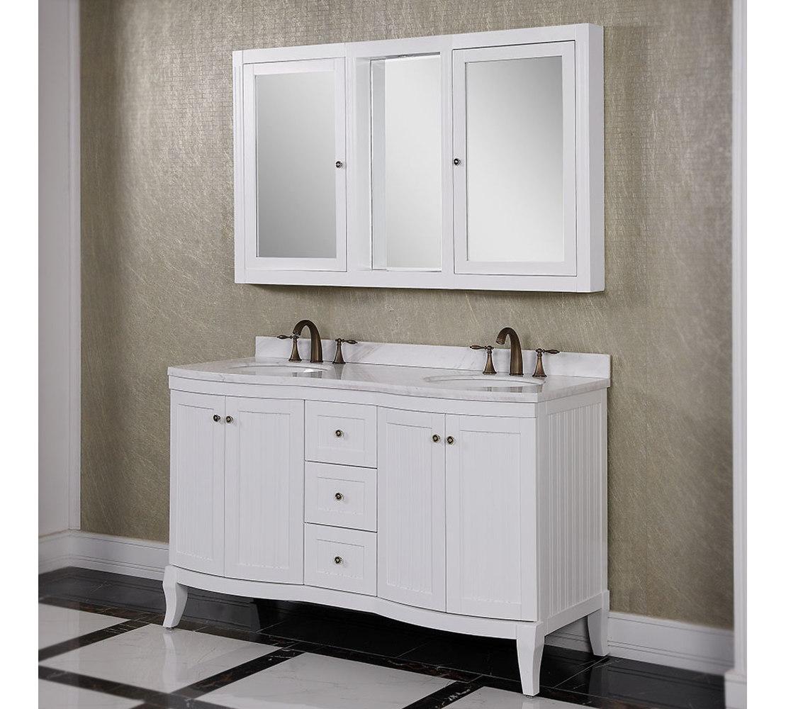 bathroom vanity mirror medicine cabinet accos 60 inch white double bathroom vanity cabinet ... QKJRWWO