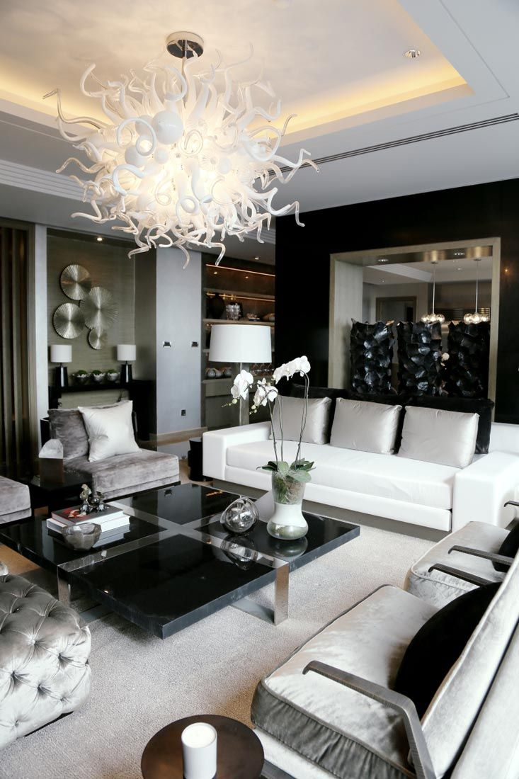 black and white decor ideas for living room elegance in black, white u0026 silver // kelly hoppen interiors | PYHLQPG