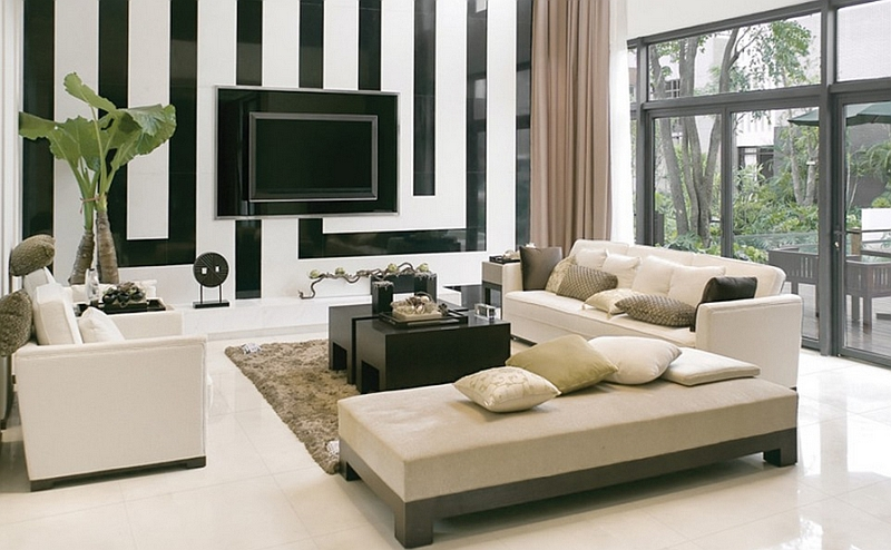 black and white decor ideas for living room view in gallery geometric backdrop of the living room steals the APMJNWW
