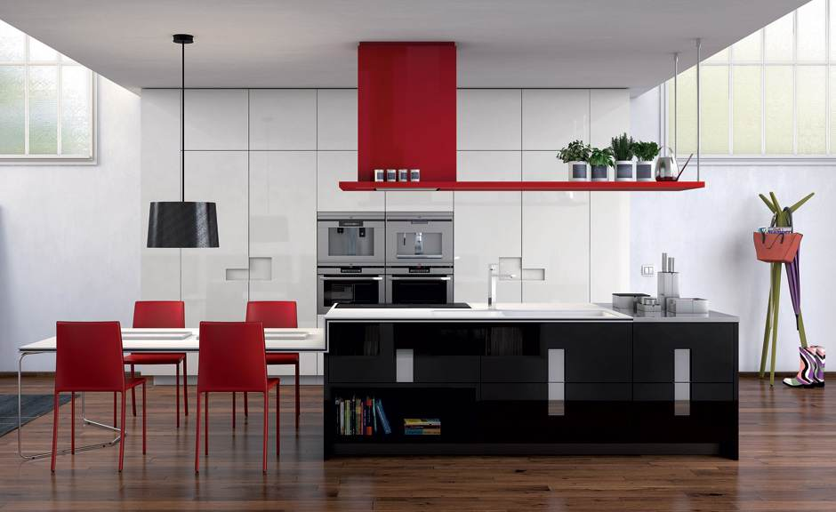 black and white kitchens with a splash of colour red kitchen VQQPRNH