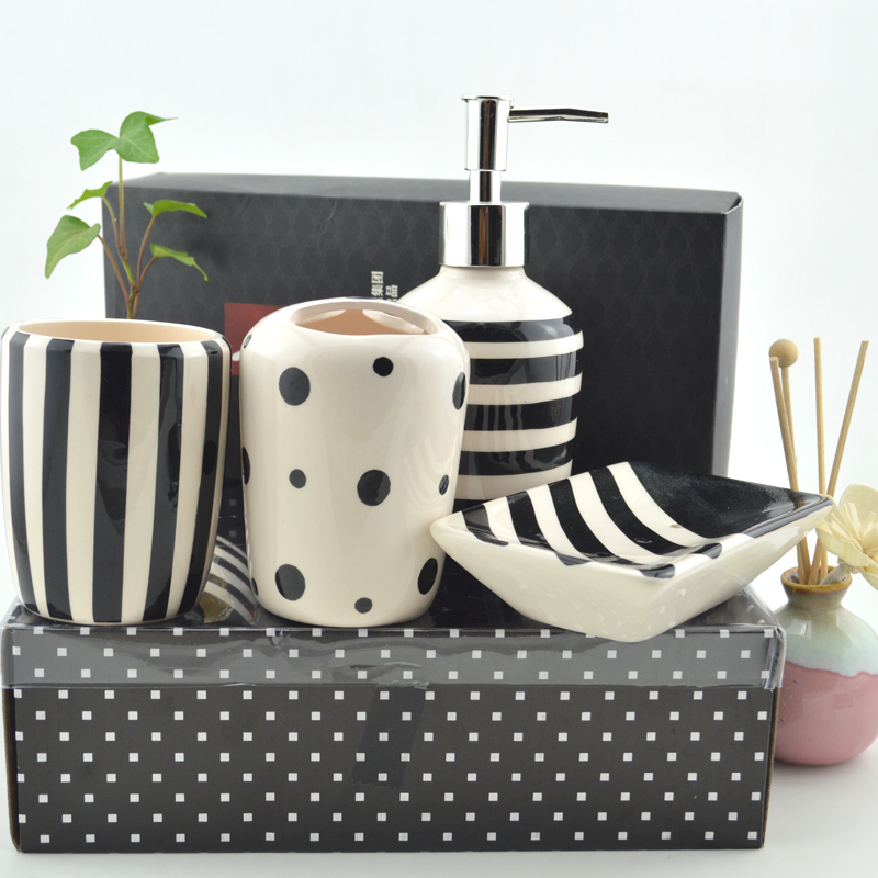 black and white striped bathroom accessories aliexpress.com : buy bathroom 4 pieces /set black and white stripe AHBWTPR