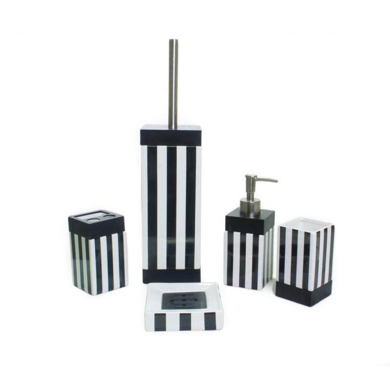 black and white striped bathroom accessories ... black and white bathroom accessories sets black and white for RLBCKCO