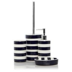black and white striped bathroom accessories DTOMWNW