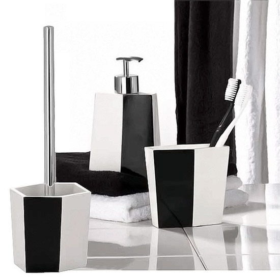 black and white striped bathroom accessories wenko bicolour bathroom accessories set black white at victorian MIHALRX
