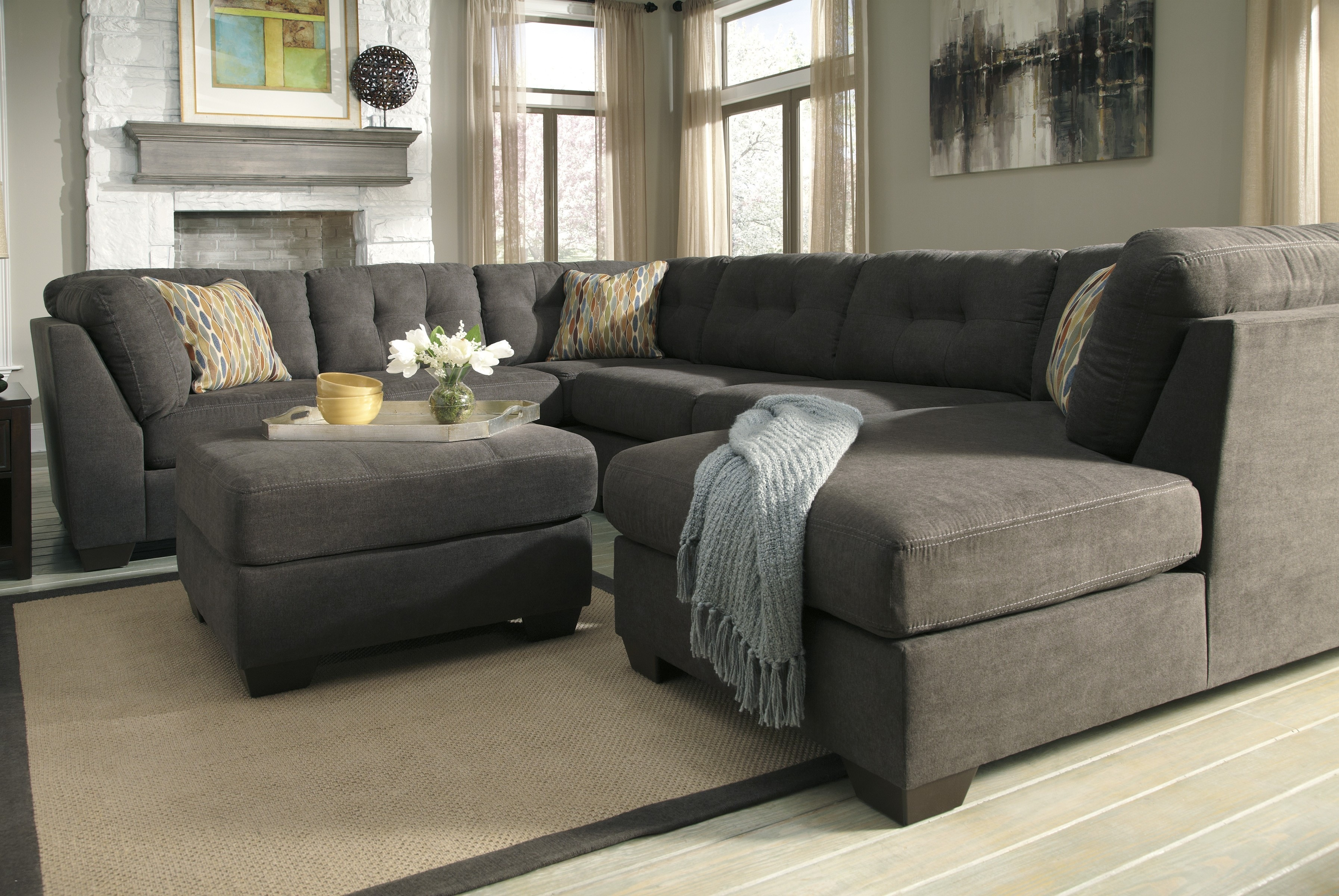 charcoal gray sectional sofa with chaise lounge new sofas ashley reclining PUSQVOY