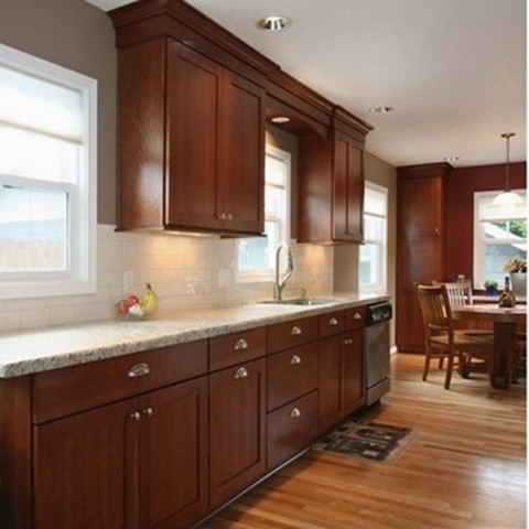 cherry kitchen cabinets with granite countertops cherry cabinets and white subway PQNLZWT