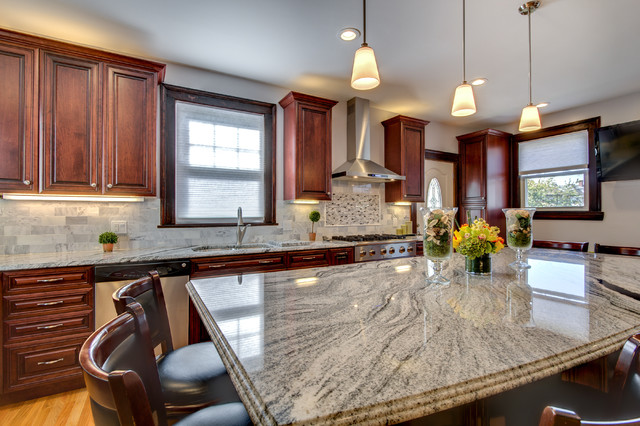 cherry kitchen cabinets with granite countertops viscont white granite countertops with cherry cabinets contemporary-kitchen RROHWER