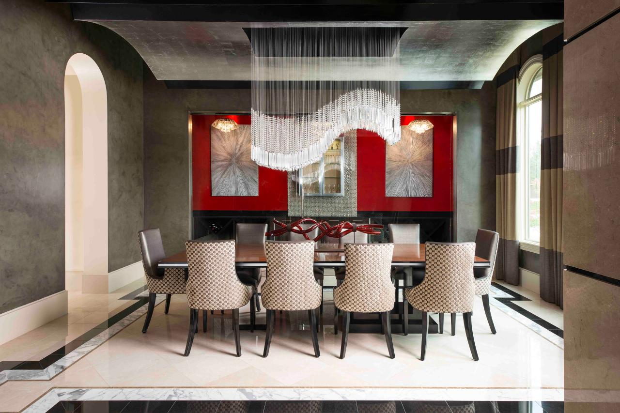 contemporary chandeliers for dining room contemporary dining room with dramatic chandelier and red accent wall EEXWFVO