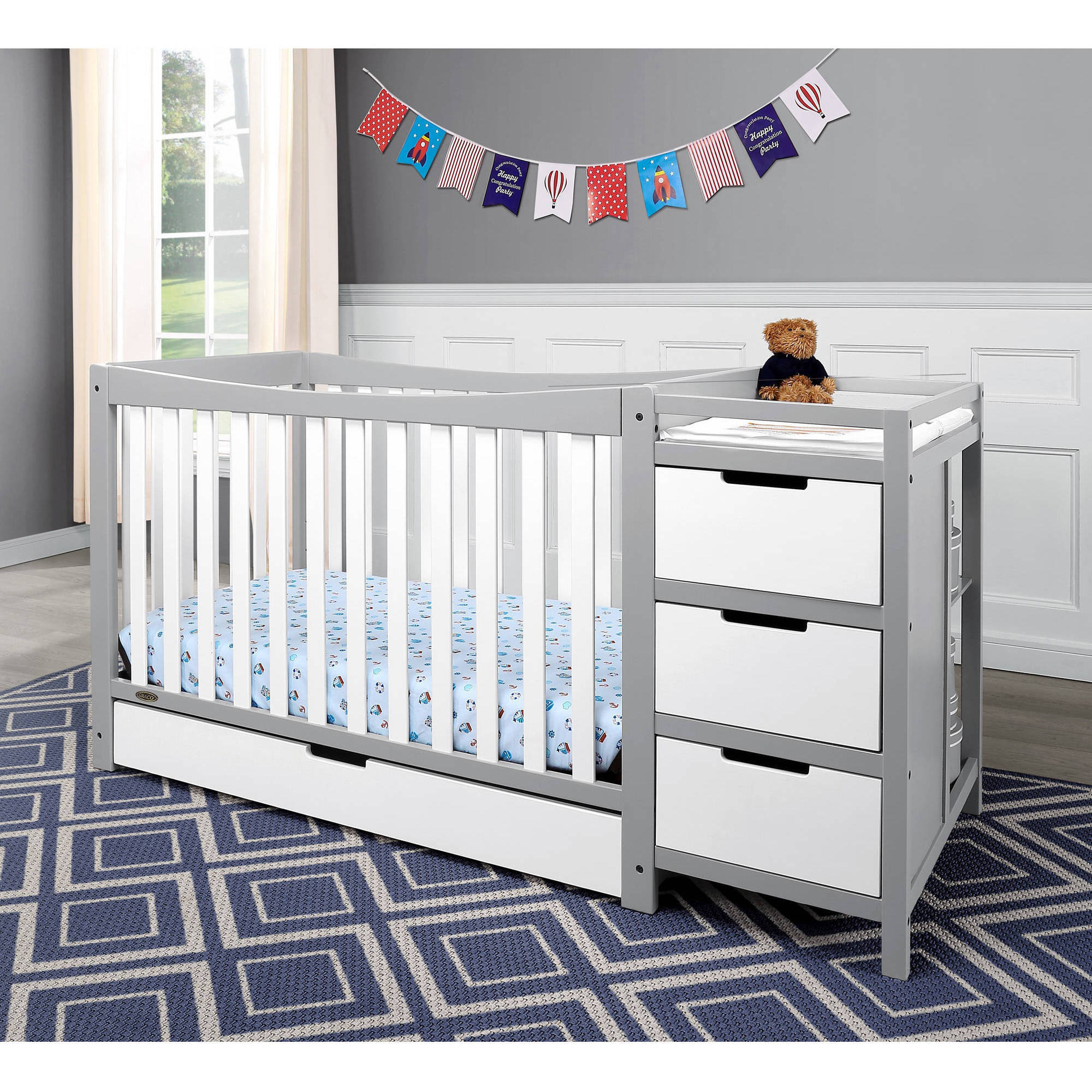 convertible baby cribs with changing table graco remi 4 in 1 convertible crib and changer combo HFCNXSX