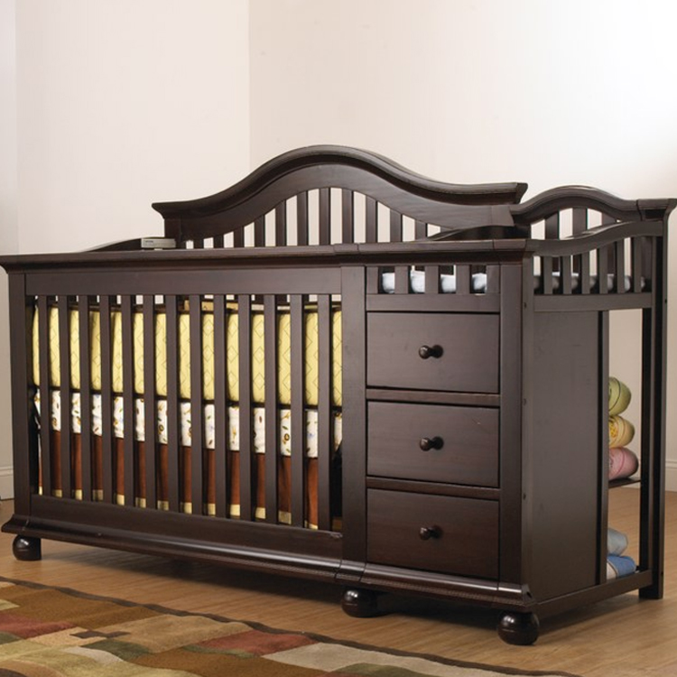 convertible baby cribs with changing table posts ... WTQXJTR