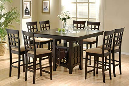 counter height dining table with storage coaster home furnishings 9 piece counter height storage dining table GRHOAOS