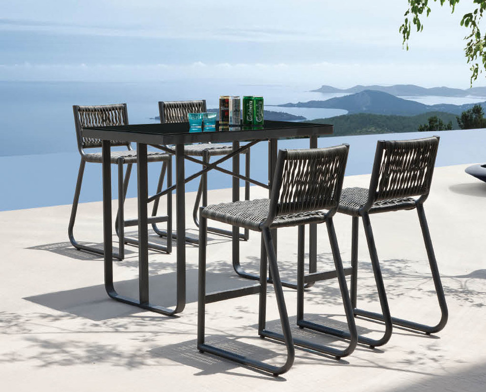 counter height outdoor table and chairs modern bar height outdoor table PTLGMSQ