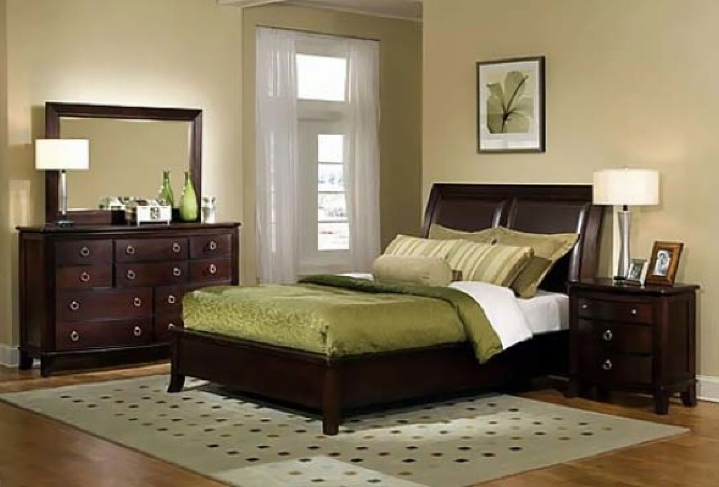 cream paint colors for bedroom with dark furniture with wood HYOADWM