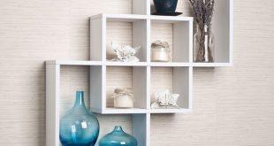 decorative wall shelves for living room white intersecting squares decorative wall shelf home living room OGUOVNV
