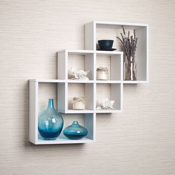 decorative wall shelves for living room white intersecting squares decorative wall shelf home living room OGUOVNV