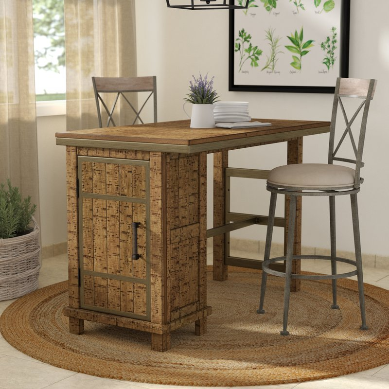 desjardins rectangular counter height dining table with storage QHWBAUP