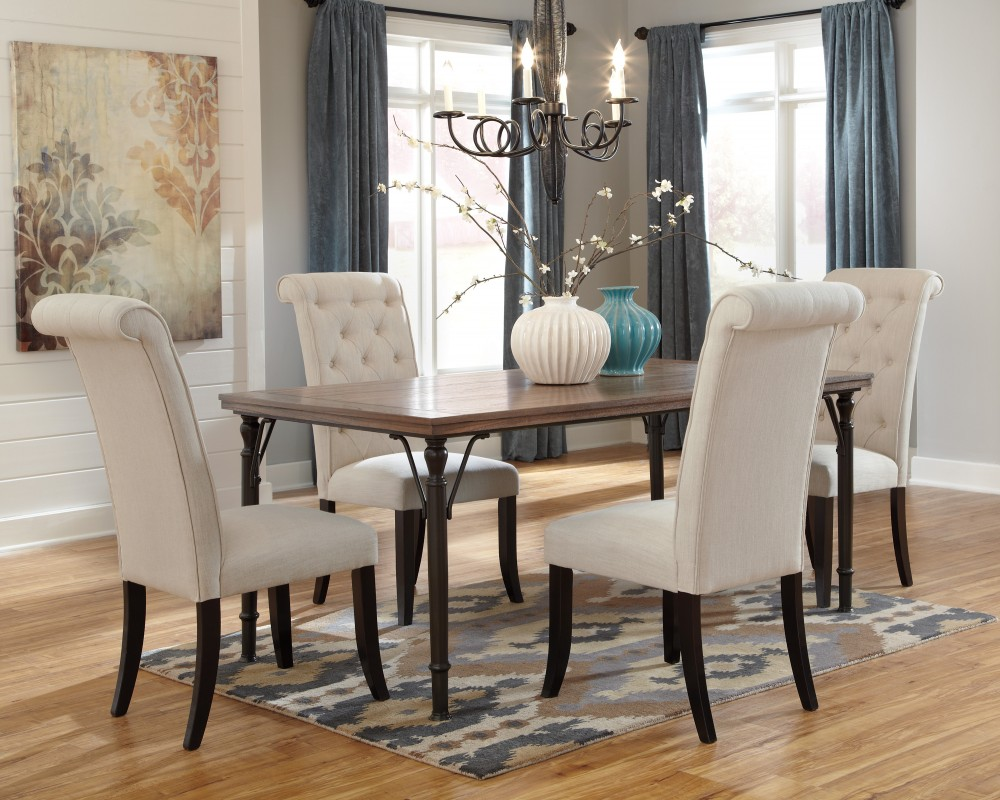 dining room sets with upholstered chairs tripton rectangular dining room table u0026 4 uph side chairs XSWCHQF