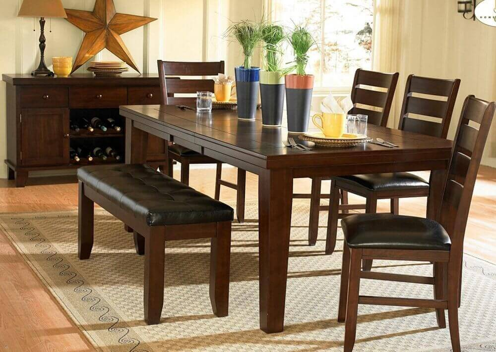 Modern Dining Room Table with Bench and Chairs