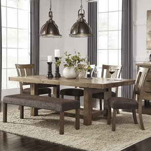 dining room table with bench and chairs etolin 6 piece extendable dining set ZDUJYNM