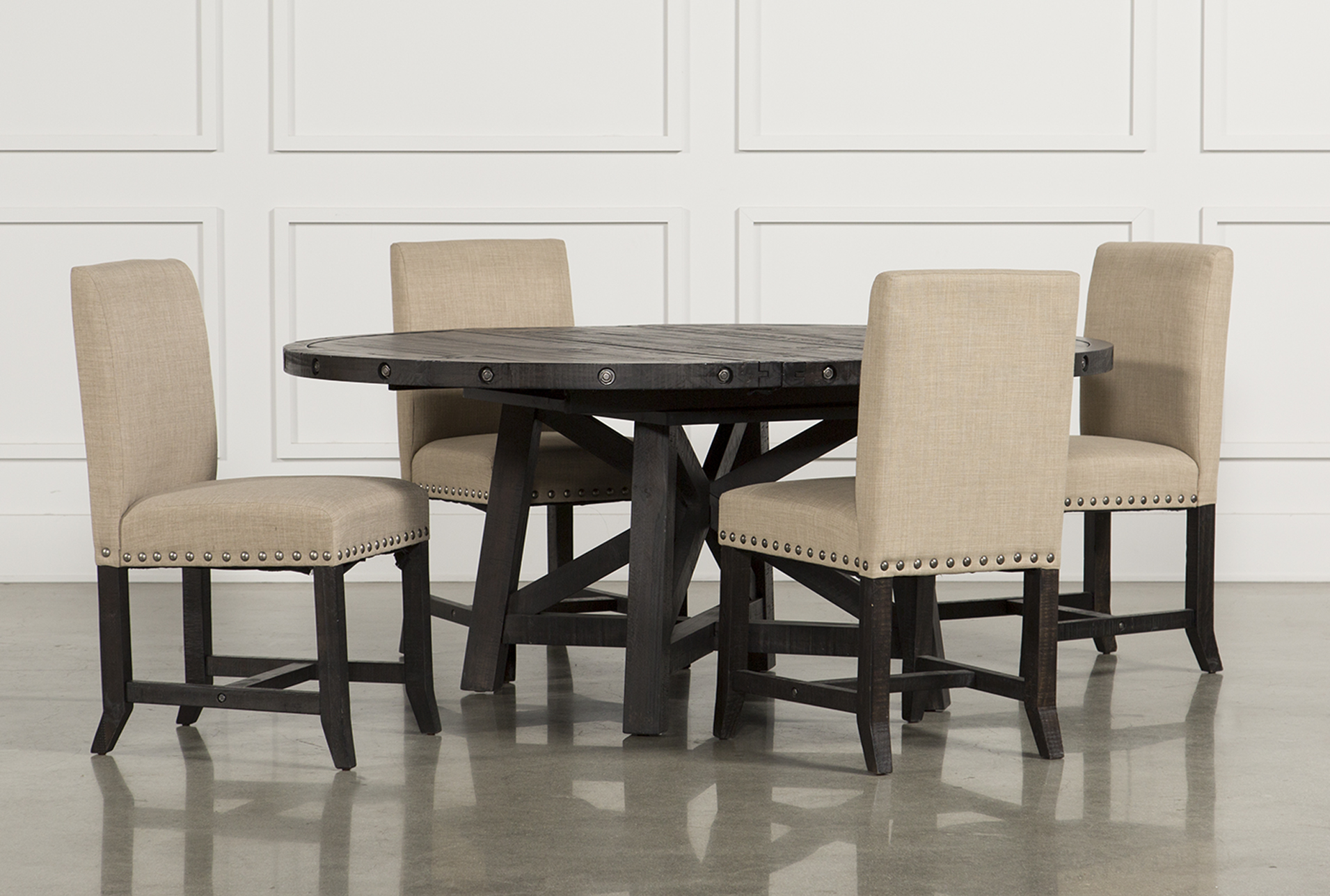 dining room table with upholstered chairs jaxon 5 piece round dining set w/upholstered chairs (qty: 1) RVUKCPB