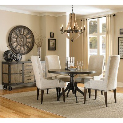 dining room table with upholstered chairs walton round dining room set w/ upholstered chairs ERBTNXL
