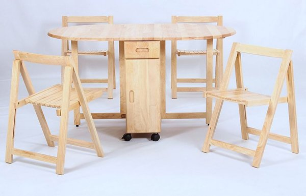drop leaf table with folding chairs stored inside drop leaf table XJAMMVK