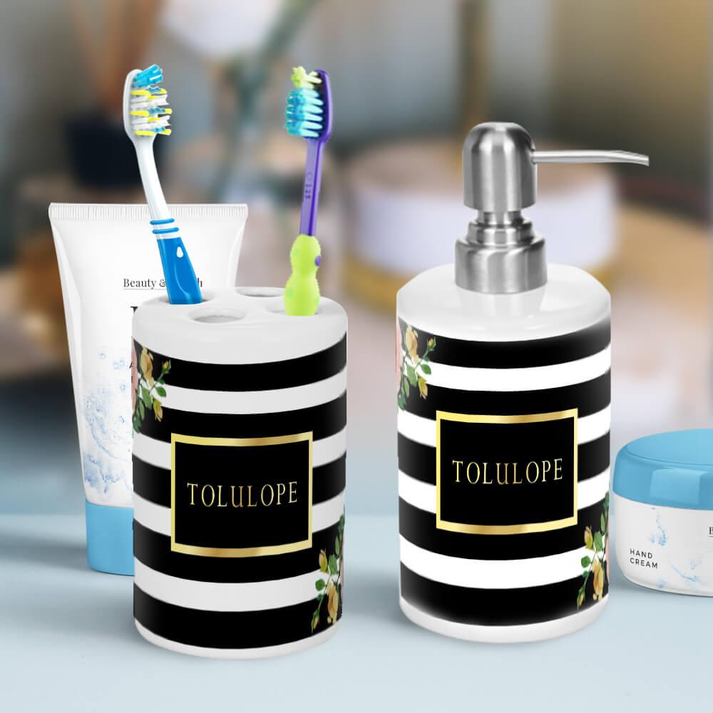 elegant floral black and white striped bathroom accessories - greetings TDIXJLD