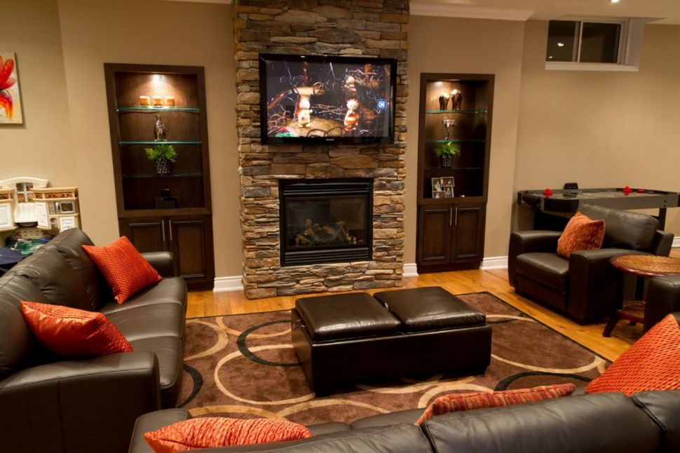 family room design ideas with fireplace living room:contemporary family room designed using basement remodeling  ideas ZNPXXCC