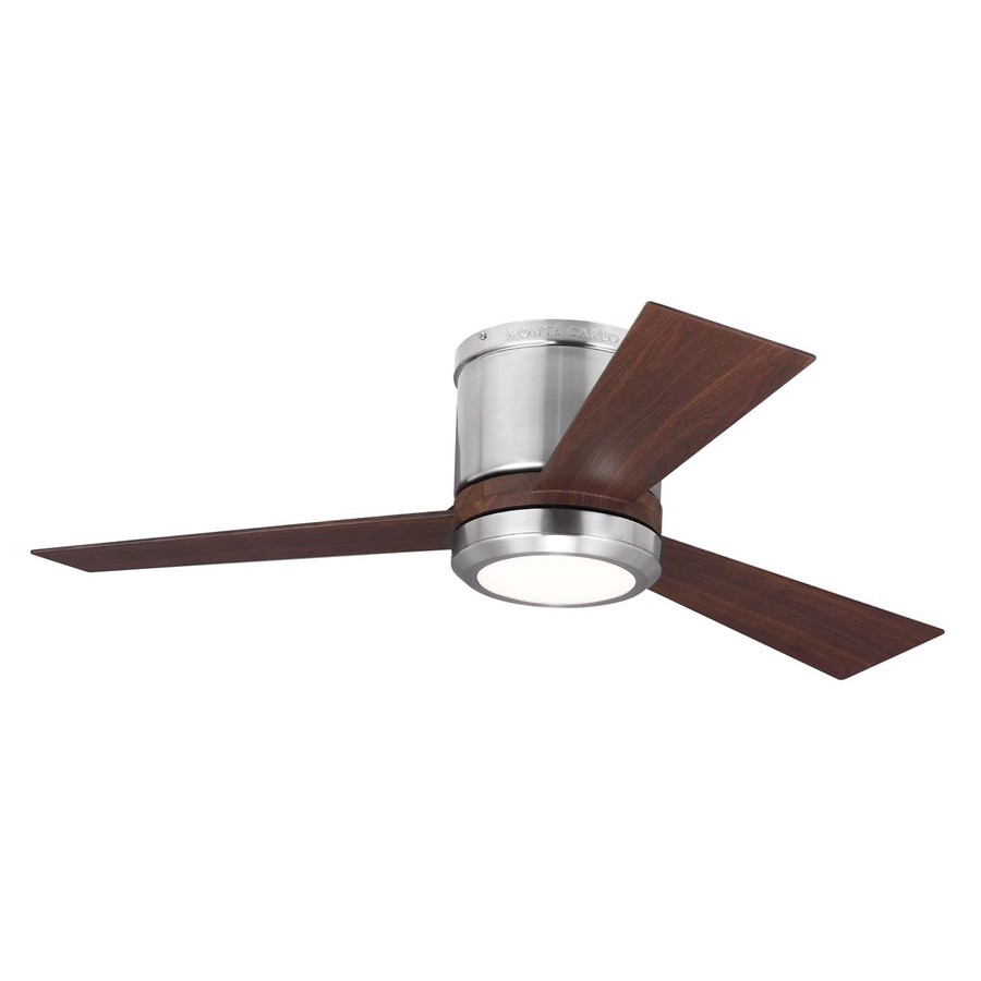 flush mount ceiling fans with remote control monte carlo fan company clarity 42-in brushed steel integrated indoor GZNVMGO