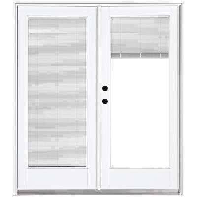french doors with blinds between the glass 60 in. x 80 in. fiberglass smooth white right-hand inswing USIHZYC