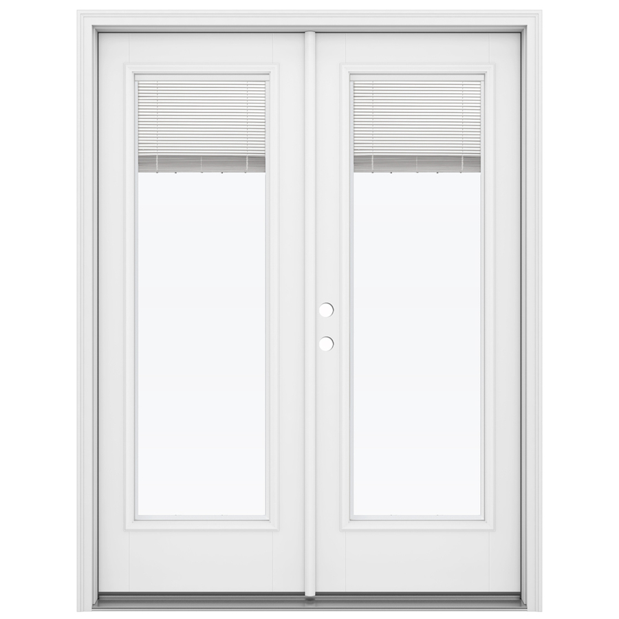 french doors with blinds between the glass jeld-wen 59.5-in x 79.5625-in blinds between the glass right- USGSCYR