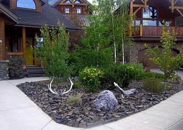 front yard landscaping ideas with rocks black rock landscaping ideas for front yard with some small SKNWYSP
