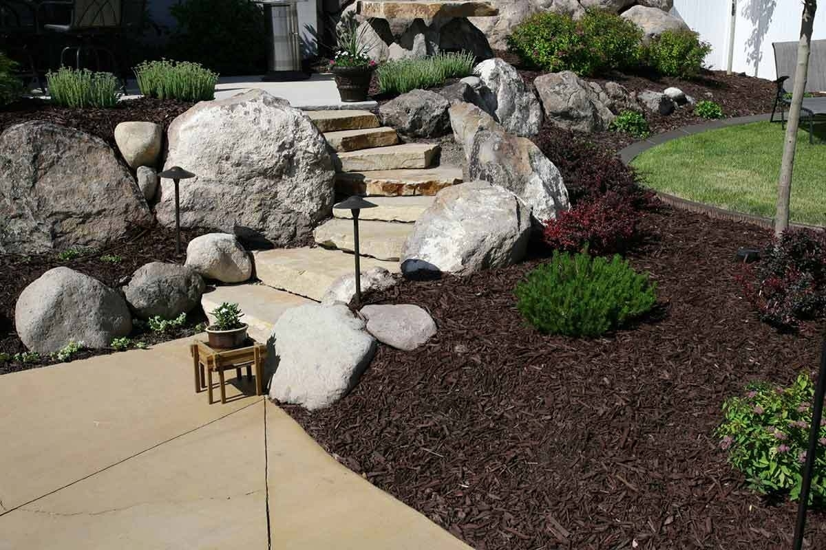 front yard landscaping ideas with rocks walkway rock landscaping ideas for front yard BVASNLM