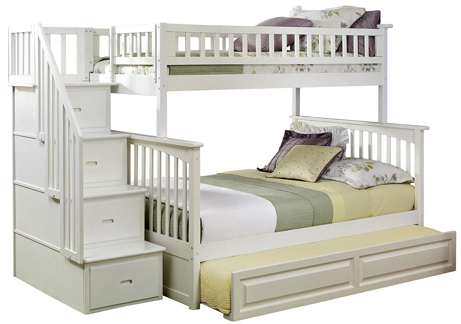 full over full bunk beds with trundle and stairs amazon.com: atlantic furniture columbia staircase bunk bed with trundle bed, HDJYUIL
