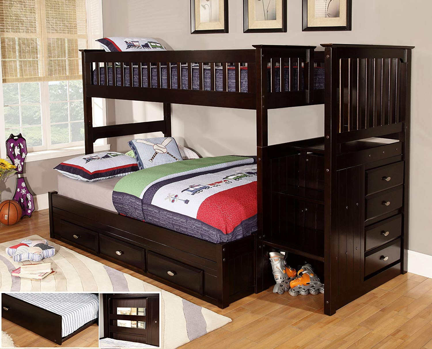 full over full bunk beds with trundle and stairs amazon.com: discovery world furniture twin over full staircase bunk bed VBRHRSC