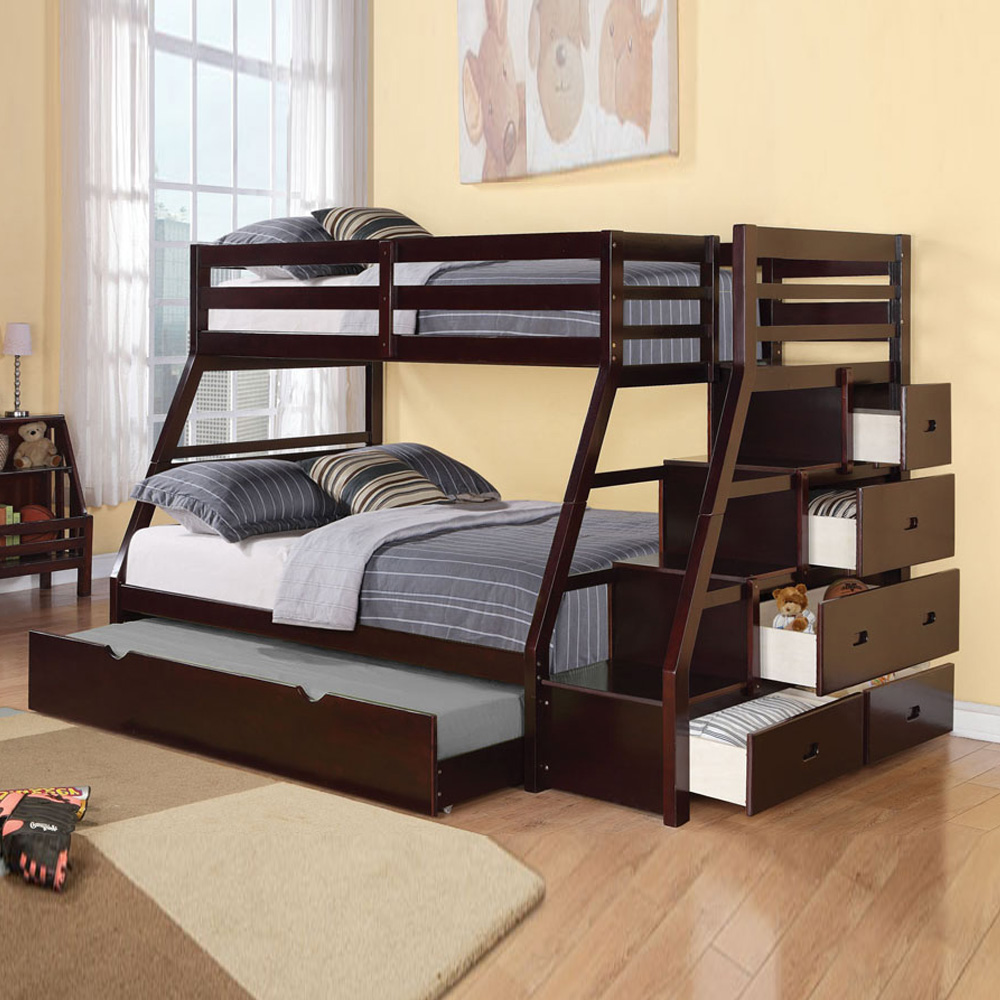 full over full bunk beds with trundle and stairs image of: twin over full bunk bed with stairs and YTZUDOA