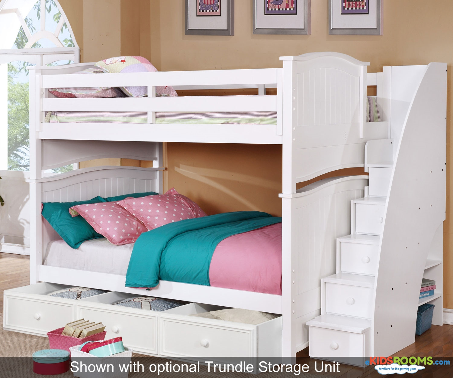 full over full bunk beds with trundle and stairs retail price $2,549.99 YNTHFBR