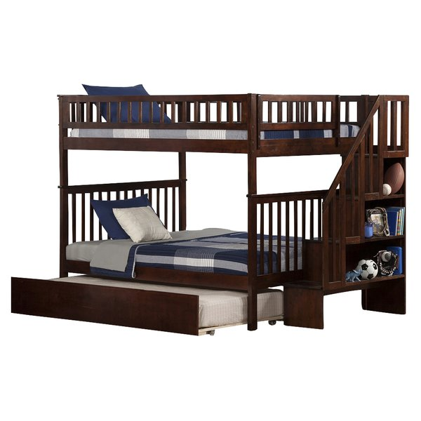 full over full bunk beds with trundle and stairs viv + rae shyann full over full bunk bed with LIDRBXT