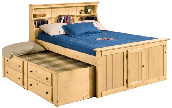 full size captains bed with bookcase headboard within lowell natural ZSCDEWF