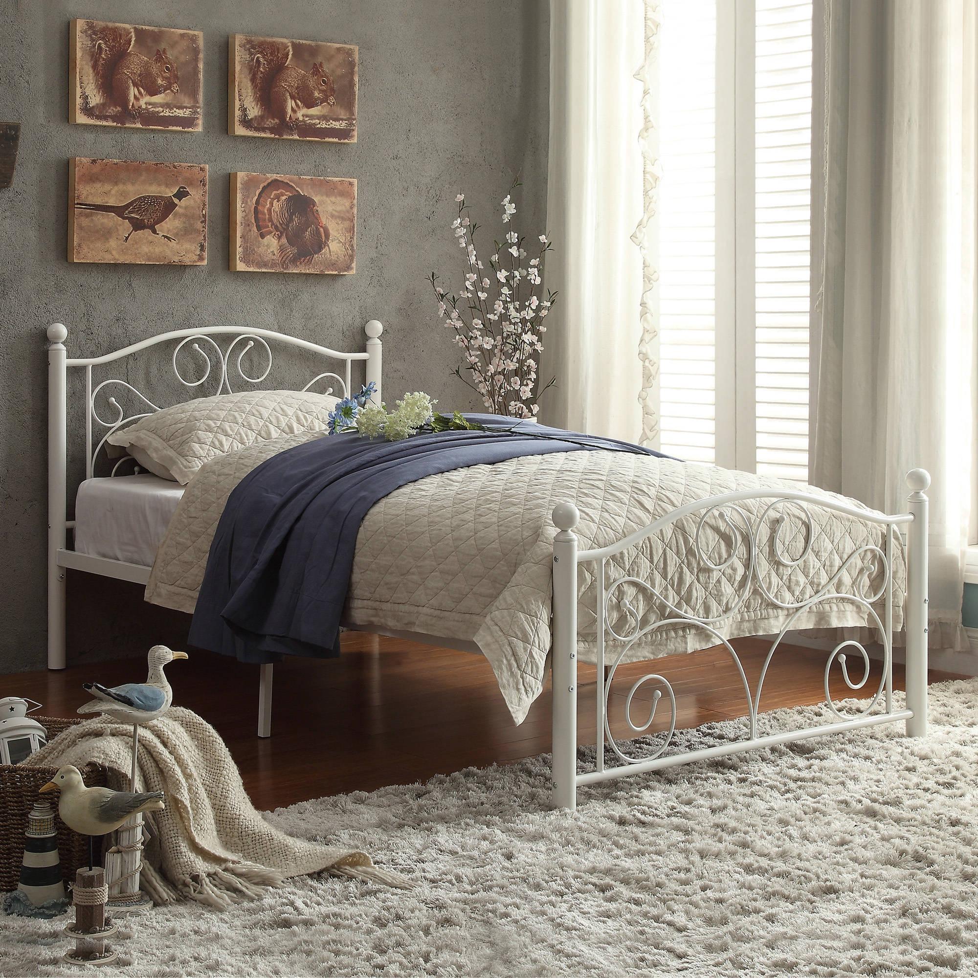 full size platform bed frame with headboard abigail metal platform bed, white, multiple sizes VHICUDO