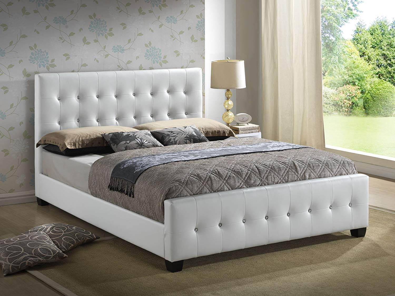 full size platform bed frame with headboard amazon.com: white - full size - modern headboard tufted design UYRQHNX