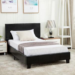full size platform bed frame with headboard image is loading full-size-faux-leather-platform-bed-frame-amp- EAJGABB