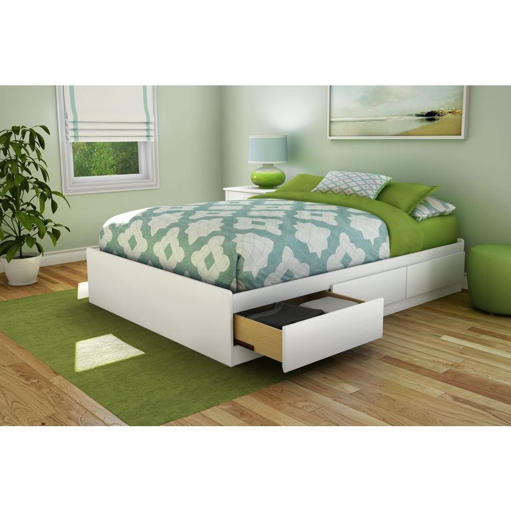 full size platform bed frame with headboard south shore step one 3-drawer full-size storage bed in pure UYCPIPA