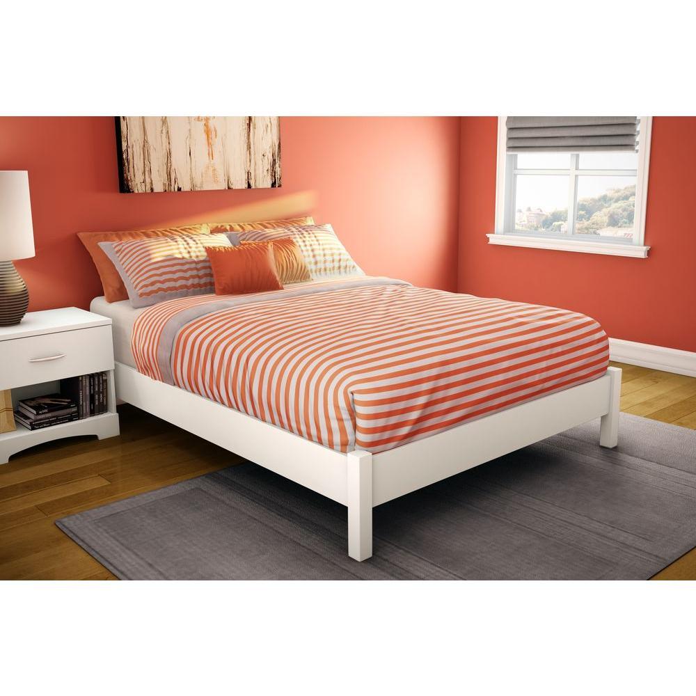 full size platform bed frame with headboard south shore step one full-size platform bed in pure white BYRRDPZ