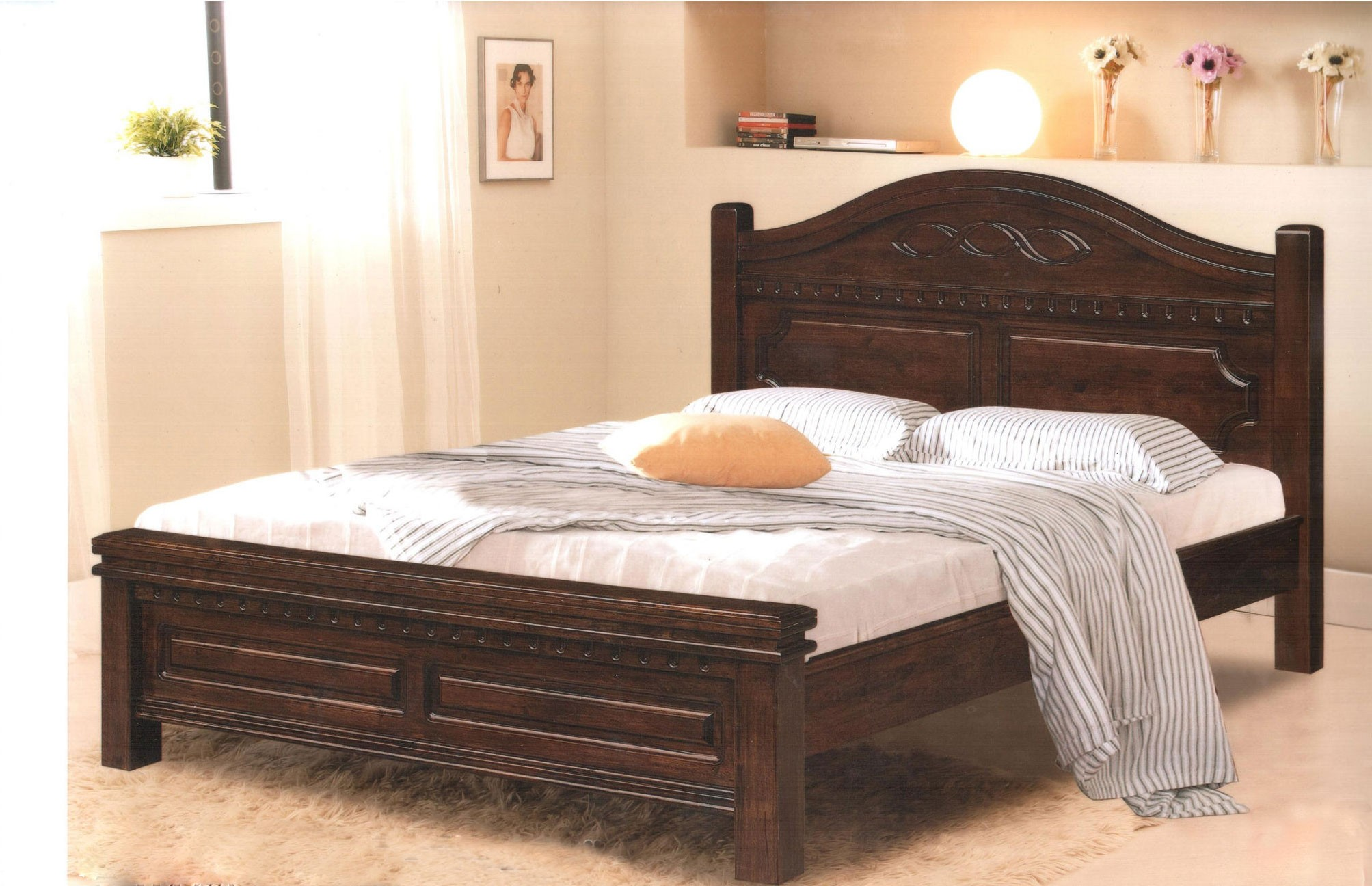 full size wooden bed frame with headboard rustic wood carved full size platform bed frame with headboard, VGCVKVW