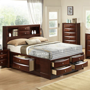 king storage bed with bookcase headboard идет загрузка изображения emily-collection-bookcase-headboard-queen-king -captains-storage- JIEGXWH