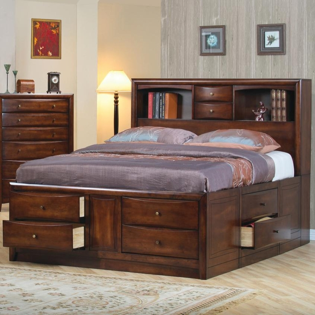 king storage bed with bookcase headboard hillary king size storage bed bookcase headboard coaster 200609ke RDKDCCM