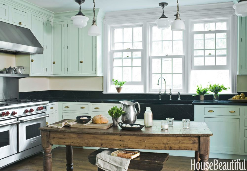 kitchen paint colors with white cabinets mint green kitchen DZLLWIU
